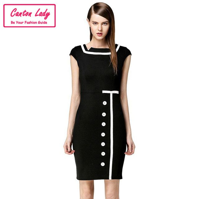 Платье бант винтажный короткая, элегантный знаменитости пуговица рукав свободного покроя бизнес вечернее рабочий офис женщины большой размер