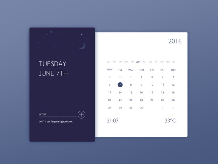 Calendar Widget by Tony He #Design Popular #Dribbble #shots