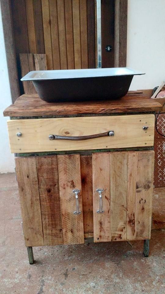 pallets e ferro velho gabinete para banheiro  Meus Móveis Falantes  Pinter -> Pia De Banheiro De Pallet