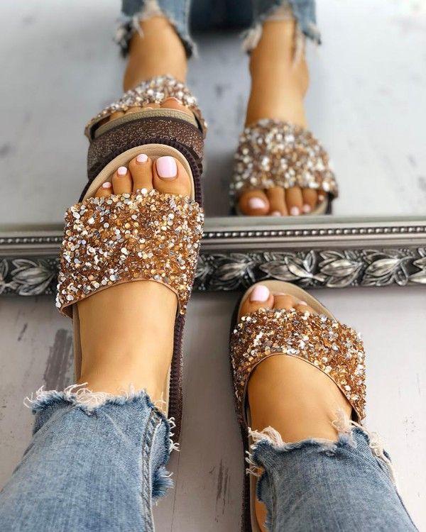 Open toe sandals, Sequin shoes