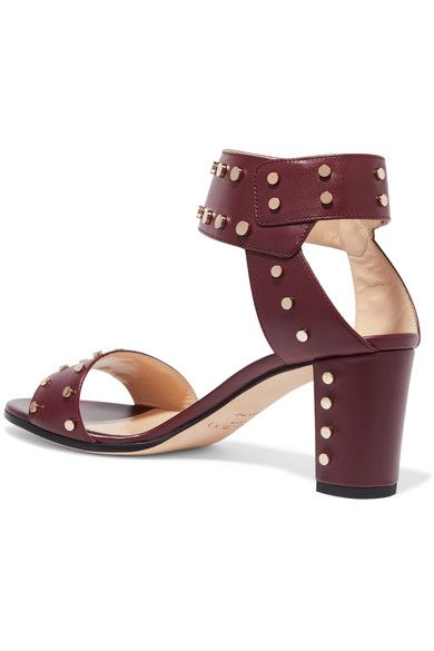 Jimmy Choo - Veto Studded Leather Sandals - Claret - IT40.5