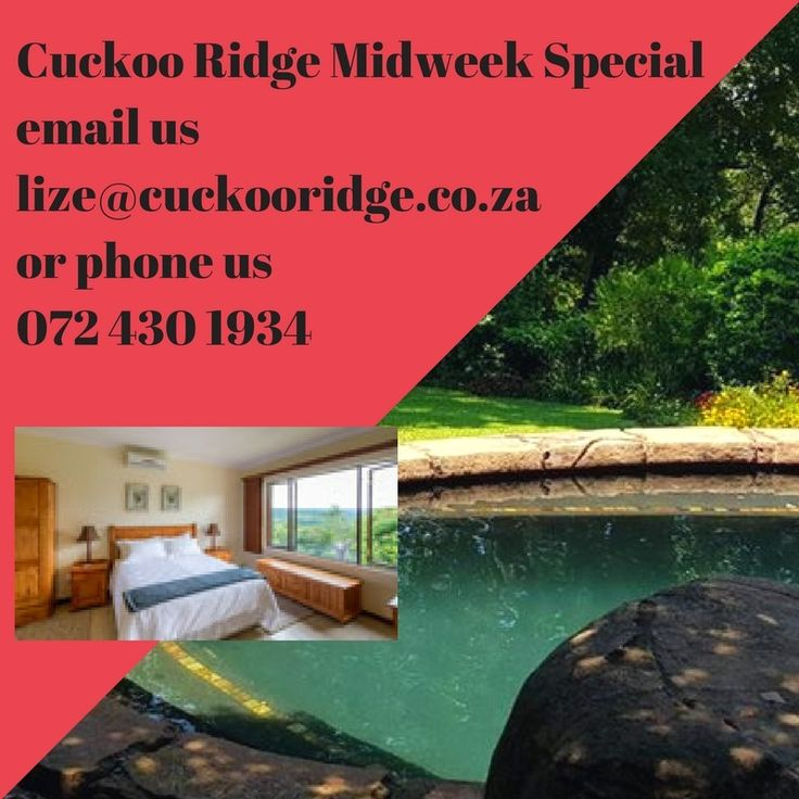 Our Midweek Special - Please contact us directly Use the Reference: Crazy Cuckoo  Selfcatering - R650.00 per person (Standard rate R795.00) Bed & Breakfast - R720.00 per person (Standard rate R925.00)  This offer is valid from 15 January 2018 - 13 December 2018 Includes Sundays to Thursdays Excludes Fridays & Saturdays, public holidays and long weekends  WiFi in Rooms - Free No children under the age of 10 years  Contact us on lize@cuckooridge.co.za Cell: 072 430 1934 Use the Reference…