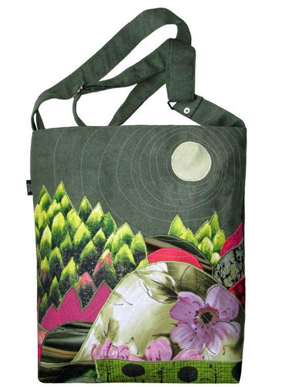OOAK Appliqued Landscape Bag Think SPRING Adjustable by ifONA