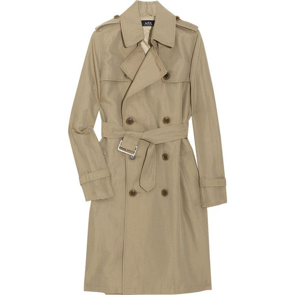 A.P.C. Double-breasted gabardine trench coat (745 BRL) ❤ liked on Polyvore featuring outerwear, coats, jackets, coats & jackets, women, double breasted coat, brown trench coat, gabardine trench coat, double-breasted trench coat and trench coat