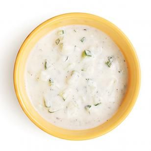 """Cucumber Raita  Raita is cucumber-yogurt sauce used in Indian cuisine as a cooling balance for spicy dishes. Try it with curries or as a condiment for grilled meat or poultry.""  Will be served with Crockpot Chicken Shwarma for our afternoon meal today."