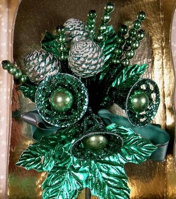 Vtg Christmas Corsage w Box Mercury Glass Pinecones