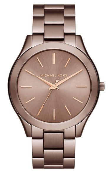 Free shipping and returns on Michael Kors 'Slim Runway' Bracelet Watch, 42mm at Nordstrom.com. A slender bezel and slim etched indexes lend understated class to a round bracelet watch that strikes a classic note in timeless hues and textures.