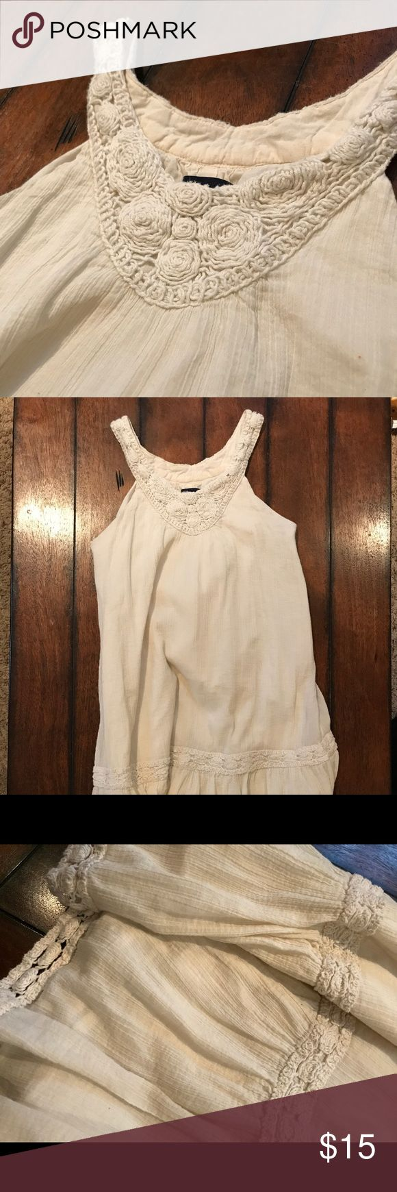 GAP kids Gauze/crochet dress Beautiful gauzy dress for girls. Would be so cute in fall with cardigan and boots! Crochet detailing and side zipper. Size 10 GAP Dresses Casual