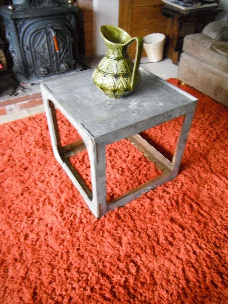 INDUSTRIAL RETRO COFFEE TABLE GALVANISED WATER TANK SOFA TABLE MID CENTURY STYLE
