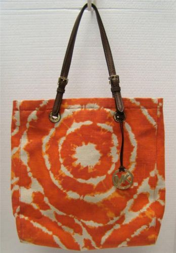 Michael Kors Grab Bag Jet Set Canvas Orange Tie Dye Tote Handbag Purse 248 Handbags Accessories Pinterest