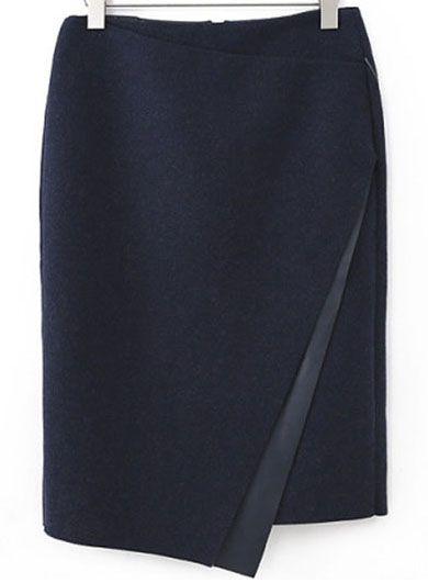 Falda de lana Bodycon asimétrica-marino 18.98