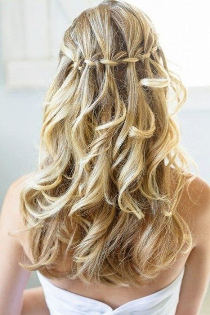 Long tresses with loose braided crown