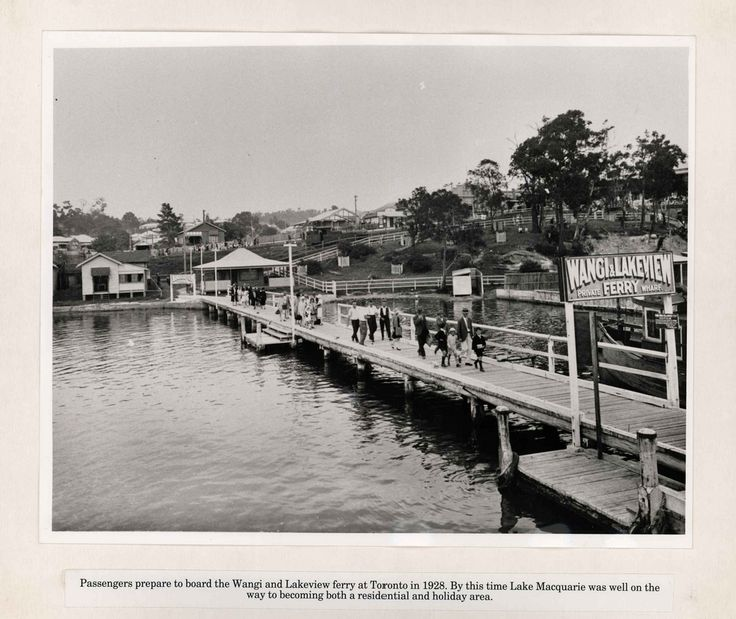 M4924 – Board 27 Title: Toronto wharf, 1928 Description: Wangi and Lakeview Private Ferry Wharf, Toronto, NSW, 1928.  This image can be used for study and personal research purposes.  If you wish to reproduce this image for any other purpose you must obtain permission by contacting the University of Newcastle's Cultural Collections.   If you have any further  information about this image, please contact us or leave a comment in the box below.