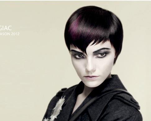 vidal sassoon fringe and purple hair color