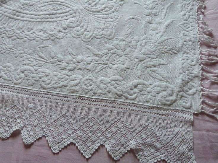 Antique French white bedspread Provencal quilted throw quilt coverlet blanket afghan spread w raised floral design French vintage bed linens by MyFrenchAntiqueShop on Etsy