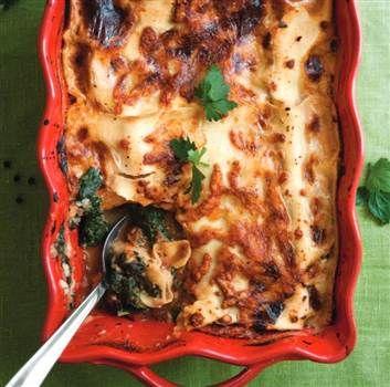 Vegetarisk lasagne med spenat och keso