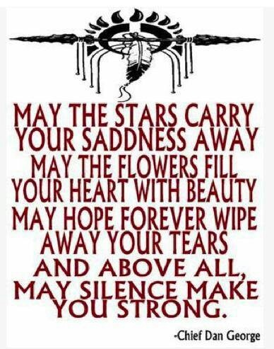 May The Stars Carry Your Saddness Away ~ May The Flowers Fill Your Heart With Beauty ~ May Hope Forever Wipe Away Your Tears And Above All MAY SILENCE MAKE YOU STRONG ~ By Chief Dan George