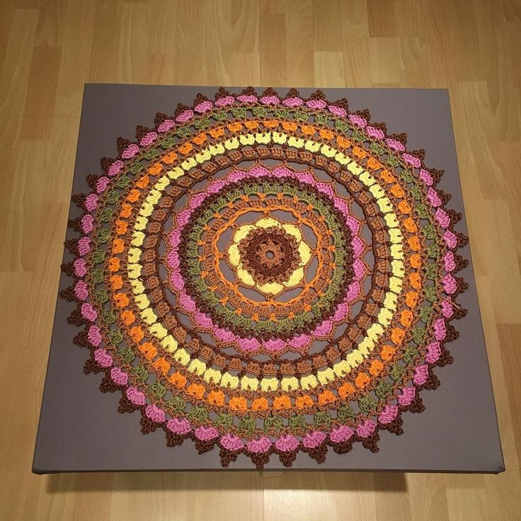 My mandala on a painted canvas. I can't believe how beautiful this turned out! #mandala #canvas #mandalaoncanvas #crochet #crochetmandala #crochetaddicted by francaplas