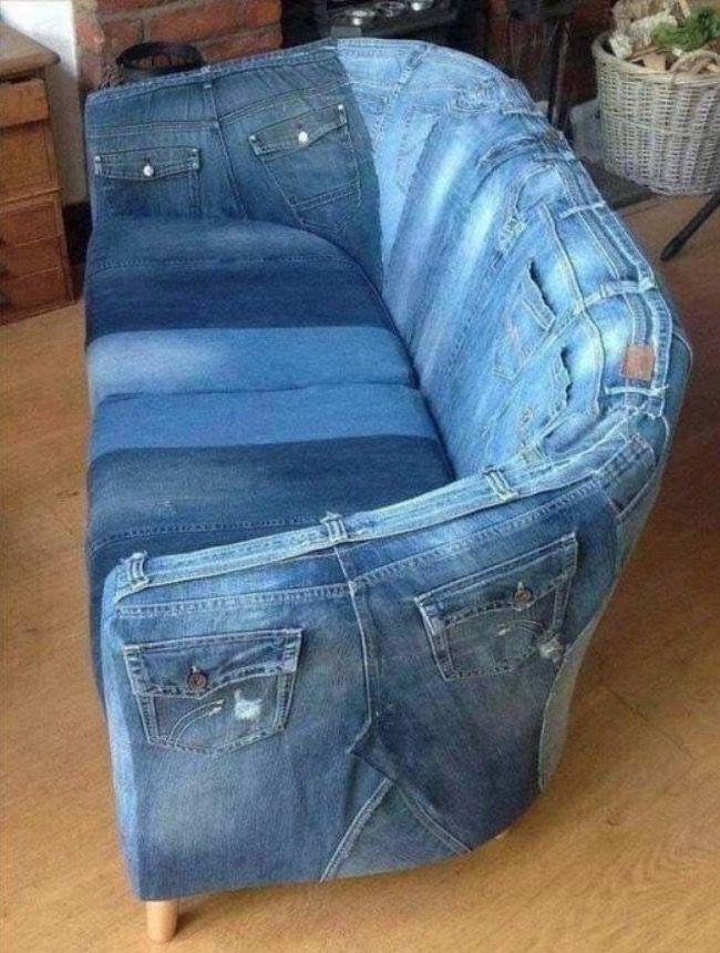 Blue Jean Couch | Denim furniture, Denim crafts, Recycle jeans