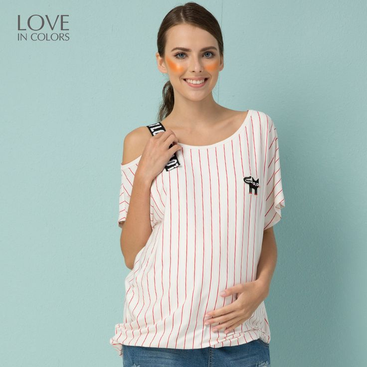 ==> [Free Shipping] Buy Best New Sexy Maternity Women T Shirt Casual Off Shoulder Short Sleeve Ladies Tops Striped Soft Pregnancy Plus Tees Online with LOWEST Price | 32794803729