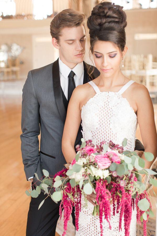 A Modern Botanical Garden Wedding; gorgeous wedding dress available at Soliloquy…