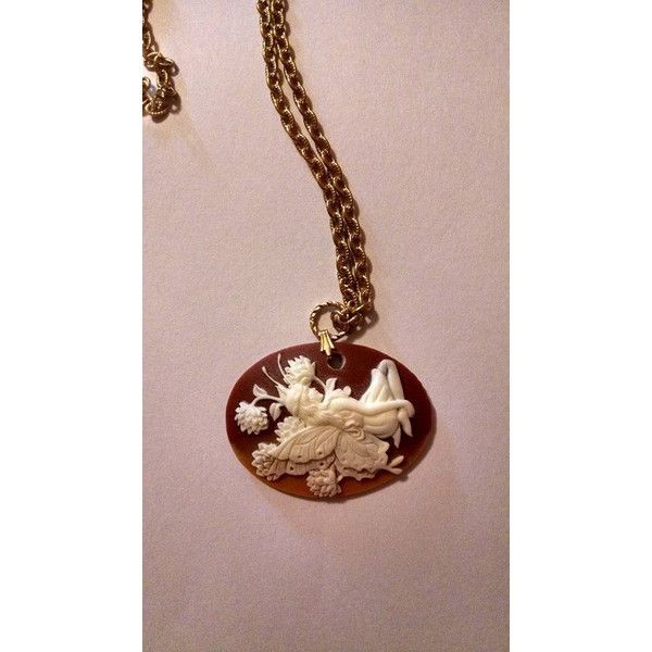 Beautiful Spring Summer Fairy Cameo Orange Brown with Gold Tone... ❤ liked on Polyvore featuring jewelry, necklaces, pendant necklace, cameo jewelry, brown necklace, gold tone necklace and orange jewelry