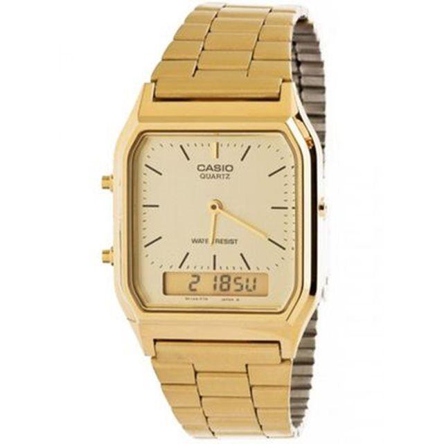 Modèle Casio résolument rétro avec son bracelet en acier inoxydable couleur or. - Double affichage de l'heure : analogique (mouvement 2 aiguilles) et digital - Bracelet auto ajustable - Fermoir à clip - Fond de cadran doré / blanc cassé - index en batonnets Son plus : son écran numérique affiche aussi la date et peut être utilisé comme chronomètre.