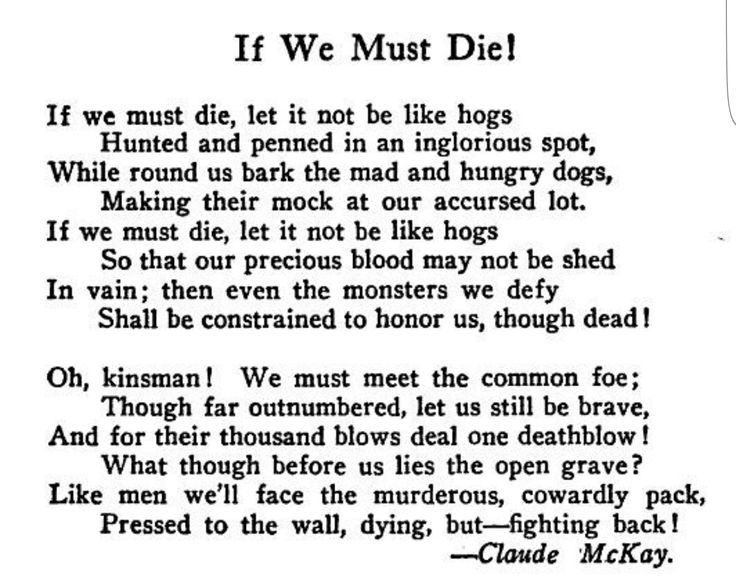 If We Must Die Not Like Hoggs With Images Harlem