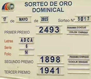 Resultados sorteo Loteria Nacional de Panama correspondiente al domingo 17 de Mayo 2015. Visita nuestro Blog: http://wwwelcafedeoscar.blogspot.com/2015/05/resultados-sorteo-loteria-nacional-de-panama-domingo-17-5-15.html