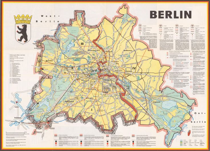 Berlin : a cold war map showing the Berlin Wall as a bricked-up barrier and barbed wire surrounding West Berlin, produced in 1963