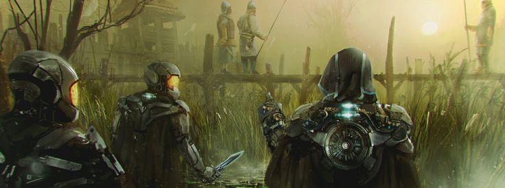Concept of future meets past #conceptart #scifi #future #soldier #helmet #knife #character #illustration #medieval #warrior #village #sneak #ambush