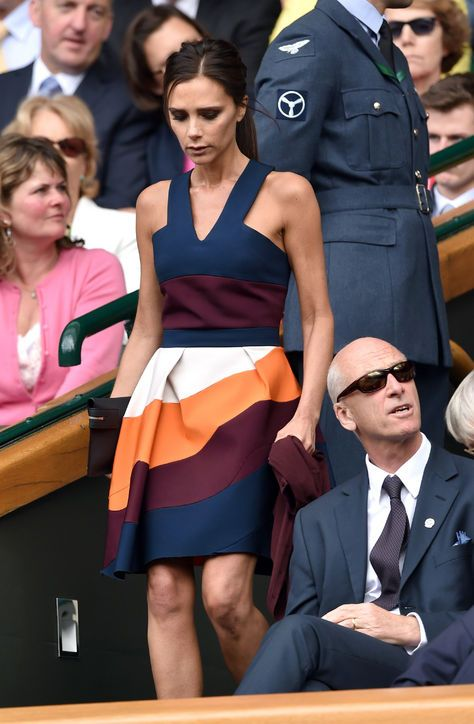 Victoria Beckham in a dress from her spring 2015 collection at Wimbledon