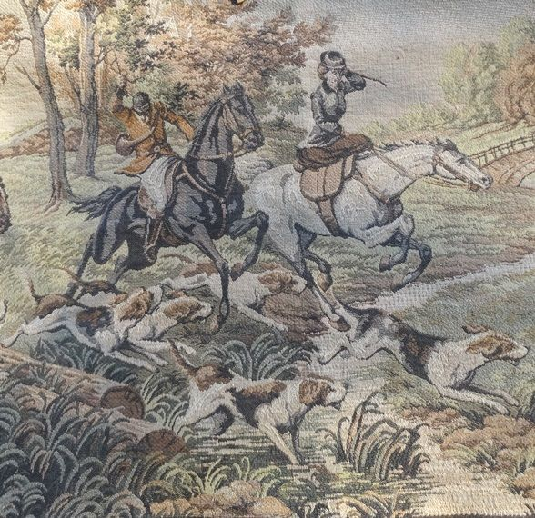 Vintage Tapestry Wall Hanging or Table Runner, English Hunt Scene with Horses and Dogs, Muted Browns & Greens, Very Beautiful, Gents, Ladies by VictorianWardrobe on Etsy