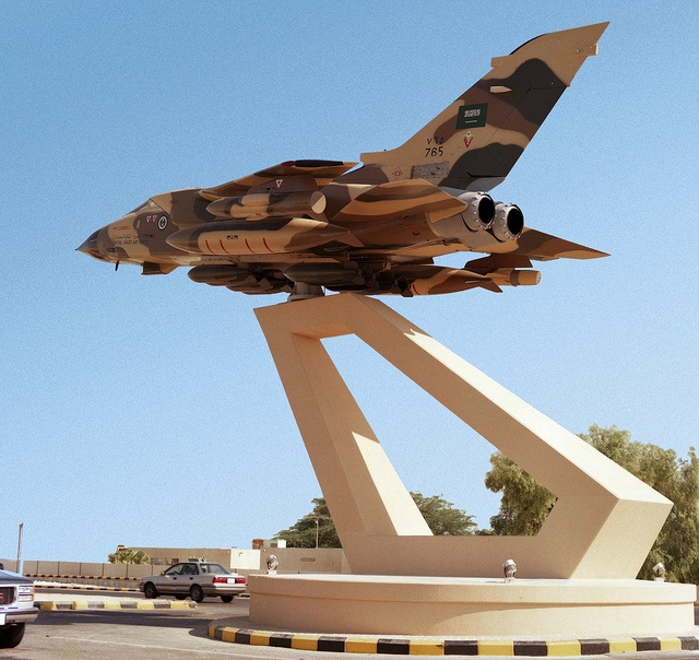 Royal Saudi Air Force Panavia Tornado IDS 765 displayed outside the main entrance to King Abdul Aziz Air Force Base, Dhahran, Saudi Arabia. Three days after the start of Operation Desert Storm of the Gulf War, the aircraft ran out of fuel reportably as a result of refusing to refuel from a USAF female tanker crew. The crew then elected to fly to an alternate base at lower altitude thus burning more fuel, ultimately running out a few kilometres short. Now a gate guardian.