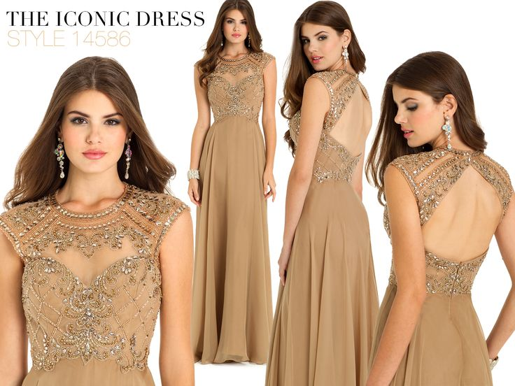 Camille La Vie Iridescent Chiffon Long Evening Dress with Beaded Bodice and Open Back Detail for Homecoming, Prom or any fashion event or party: Open Back