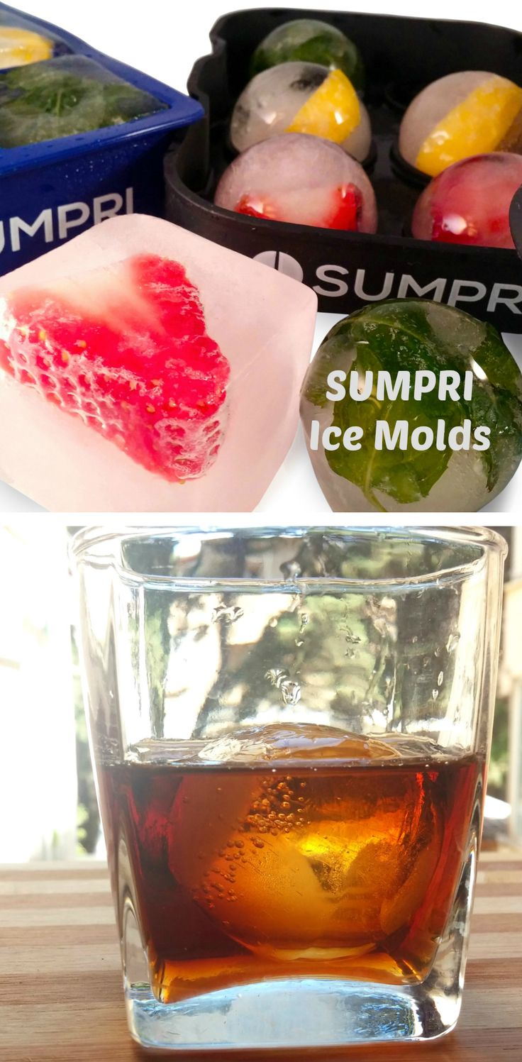 Make your own large Ice Cubes & Ice Spheres with SUMPRI Silicone Ice Molds.  #Sumpri #sphere #ice #ball #maker #mold #cube #tray set