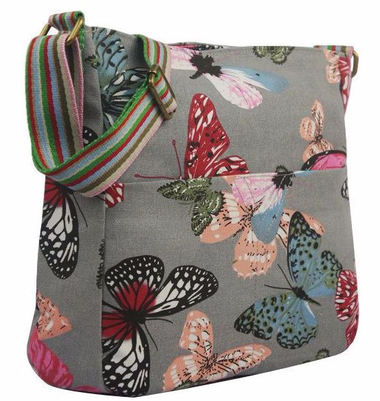 A grey crossbody across body canvas shoulder bag with a Butterfly pattern excellent quality thick canvas fabric with a single adjustable shoulder