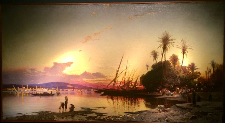 Great painting scene on the banks of the Nile sunset at Tefaf..  Holliday!