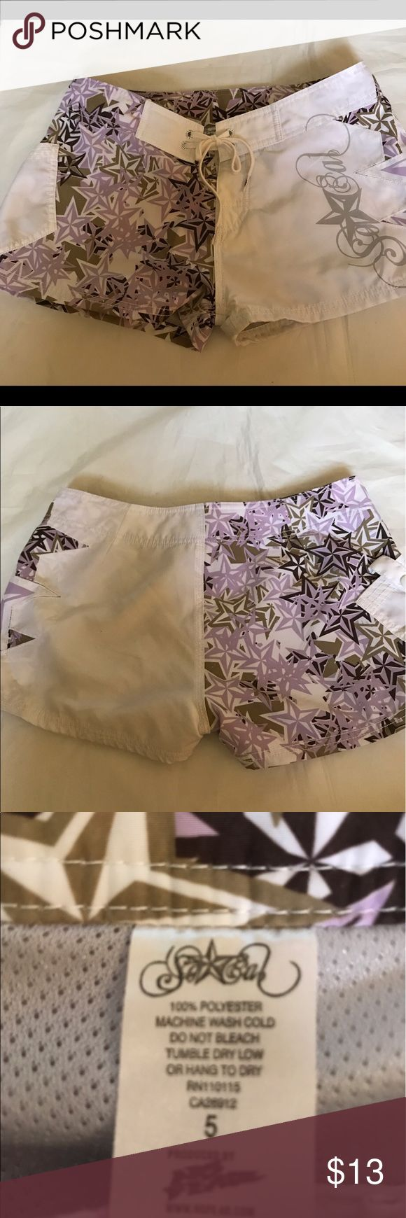 So Cal Girls Board Shorts NWOT Juniors Board Shorts. Pink, brown and black stars on white base. One pocket, Velcro/Tie Closure. Super cute and perfect for the summer! So Cal Swim