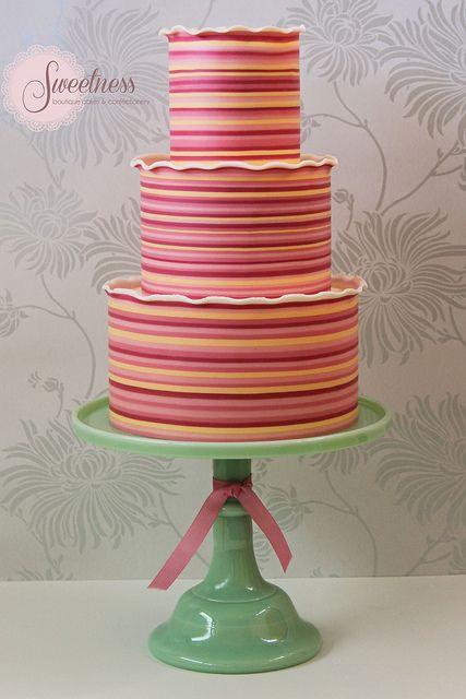 Candy stripes celebration cake. www.sweetnessonline.co.uk | Flickr - Photo Sharing!