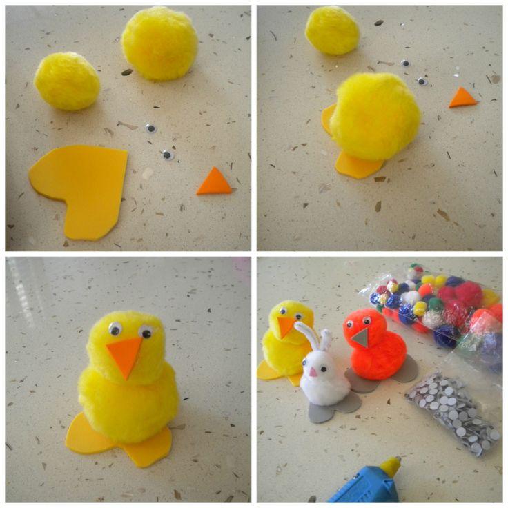 Animalitos de primavera hechos en la casa con materiales de manualidades