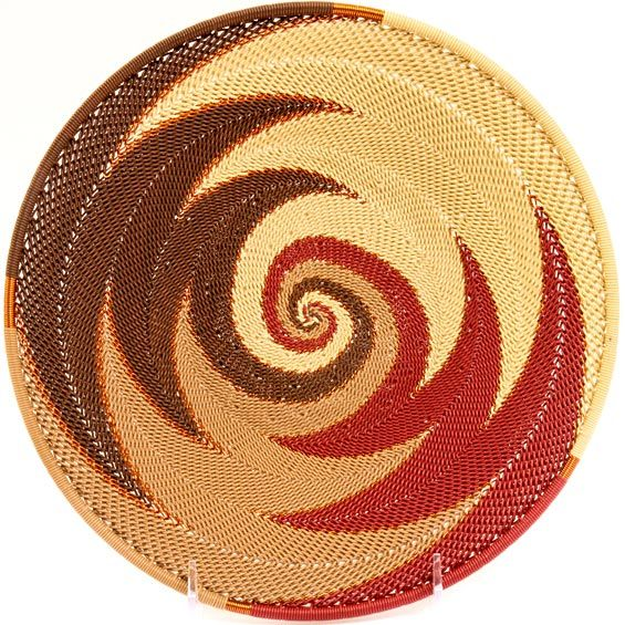 African Basket - Zulu Wire - Shallow Bowl #36234