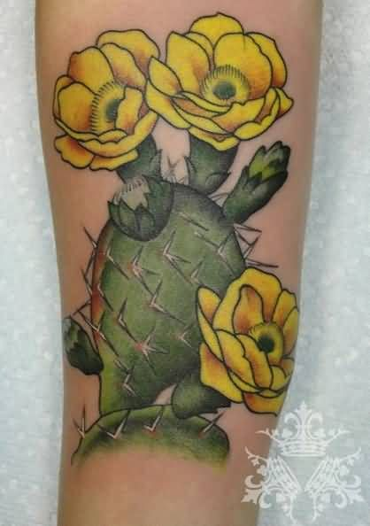Extremely Nice Cactus With Yellow Flowers Tattoo