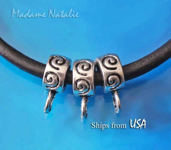 Swirl Pattern Bails 10 Tibetan Silver Bail Beads with