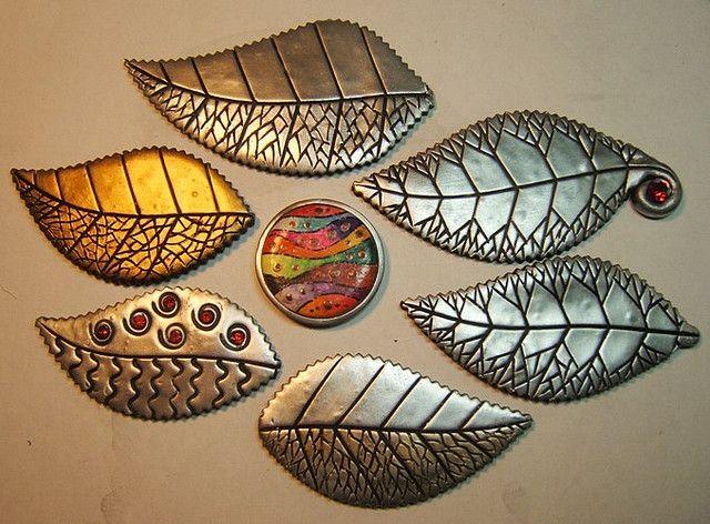 leaf pins by polymerclaybeads, via Flickr