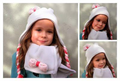 MiiMii - rękodzieło dla mamy i córki.: Jak uszyć czapkę i szalik z polaru na zimę. Pilotk...