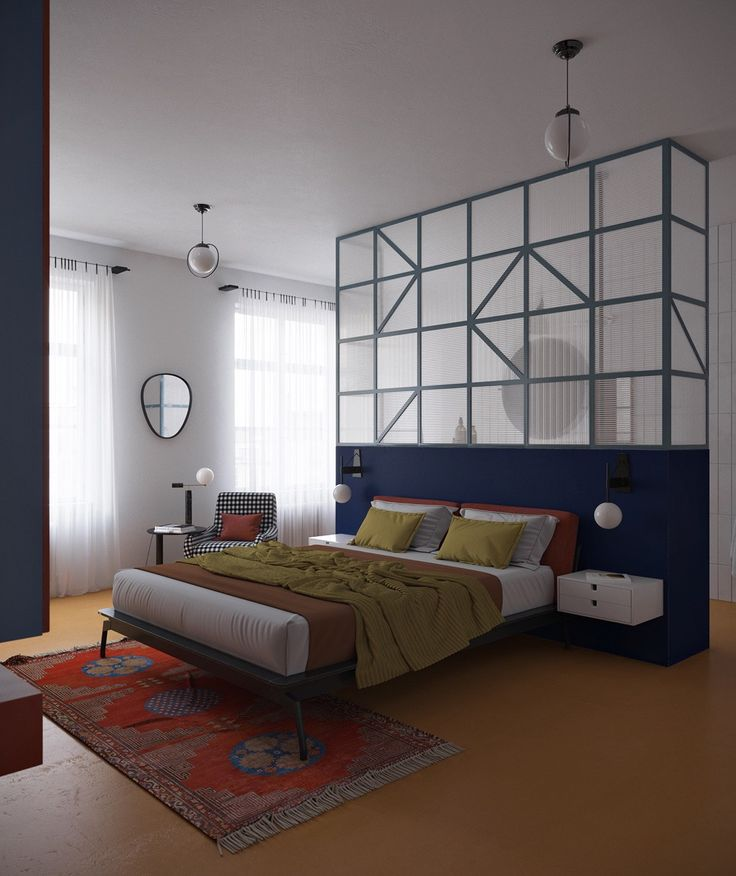 oriental-rug-blue-half-wall-colorful-bed