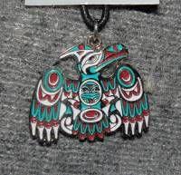 Thunderbird Necklace by Coast Salish artist Joe Wilson - cloisonne on cord #051z