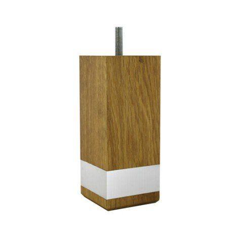 Pied de lit / sommier carré fixe chêne teinté brun / marron, 15 cm
