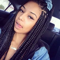 Box Braids African American Hairstyle Hair Extensions Mixed Chicks Lightie Pretty Girl Swag Cute Bow Awebbb